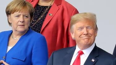 Angela Merkel et Donald Trump au sommet de l'Otan, à Bruxelles, le 11 juillet 2018.