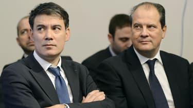 Olivier Faure et Jean-Christophe Cambadélis lors d'une conférence de presse du Parti socialiste le 15 janvier 2013