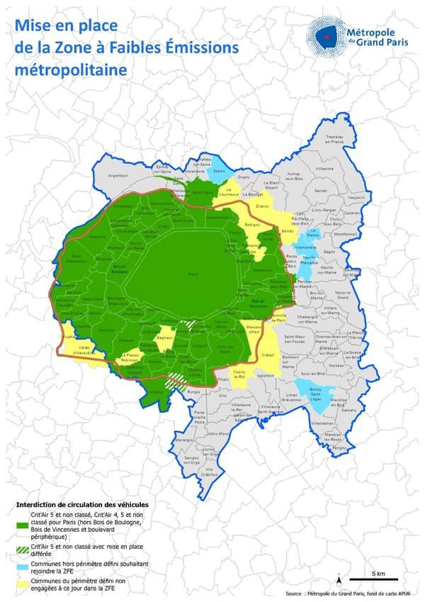 Début 2021, 67 communes de la Métropole du Grand Paris sont engagées dans la ZFE métropolitaine, sur les 79 de ce périmètre de référence, soit près de 91 % des 5,6 millions d'habitants concernés depuis l'instauration de la première étape.
