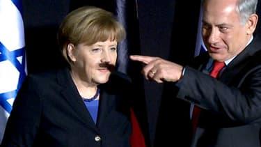 La malencontreuse moustache d'Angela Merkel, le 25 février 2014