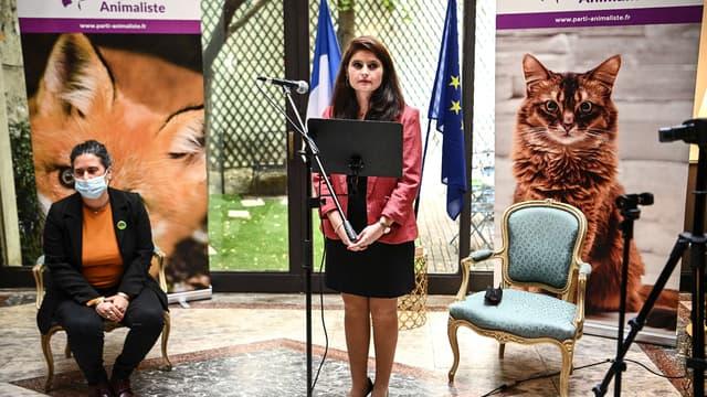 Hélène Thouy, coprésidente du Parti animaliste, annonce sa candidature à l'élection présidentielle, le 1er juillet 2021.