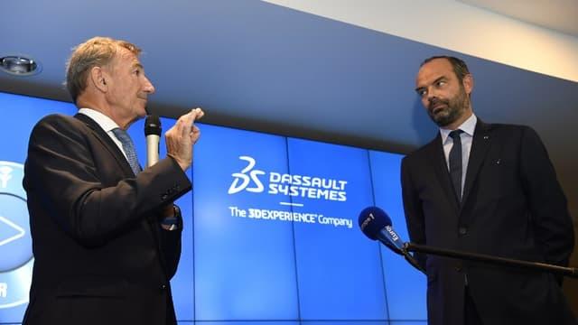 Edouard Philippe présentait son plan d'action pour l'industrie du futur, jeudi 20 septembre, depuis le siège de Dassault Systèmes à Vélizy (Yvelines).