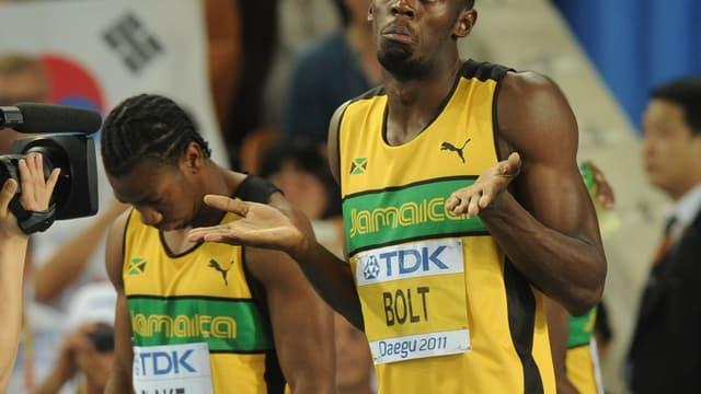 Yohan Blake et Usain Bolt aux Mondiaux