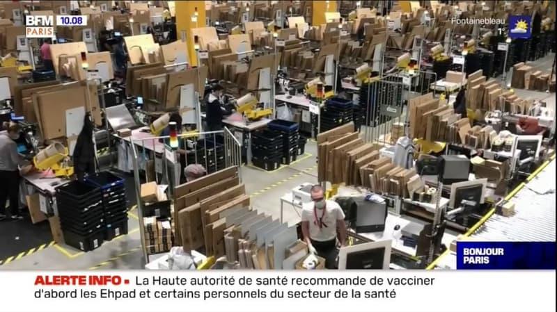 Brétigny-sur-Orge: l'entrepôt d'Amazon fonctionne à plein régime à l'approche de Noël