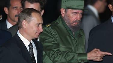 Fidel Castro et Vladimir Poutine à La Havane en 2000.