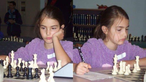 Alexandra Botez lors d'une compétition d'échecs dans son enfance