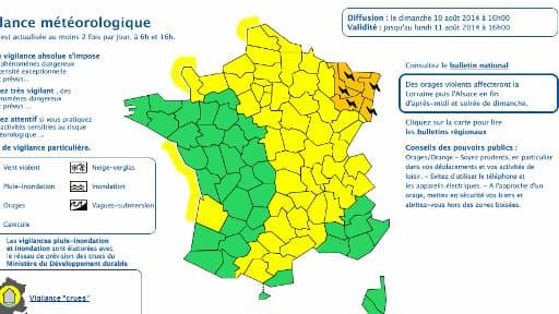 Cinq départements de l'Est de la France sont placés en vigilance orange aux orages.