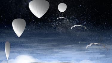 Le ballon stratosphérique de Bloon, qui monte à 30 kilomètres du sol, la où l'on voit la terre s'arrondir et le ciel virer au noir violacé.