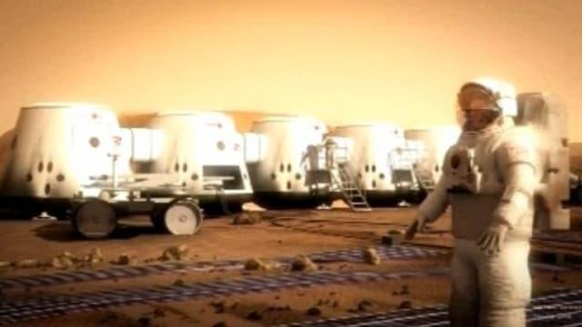 Vue d'artiste de ce à quoi pourrait ressembler une future base martienne du projet Mars One.