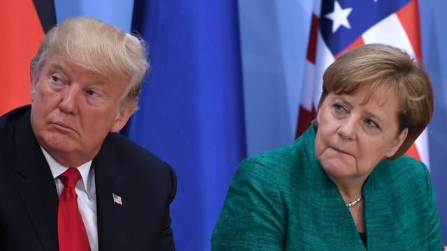 Le président américain Donald Trump et la chancelière allemande Angela Merkel.