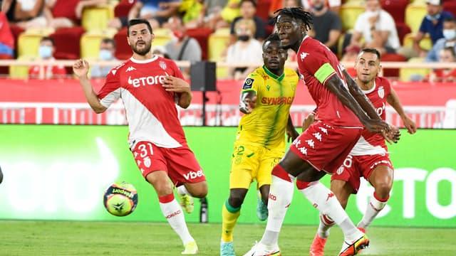 Volland, Simon, Disasi et Aguilar lors de Monaco-Nantes