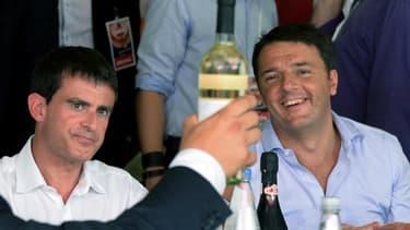 Manuel Valls avec Matteo Renzi à la fête de l'Unita à Bologne