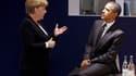 Barack Obama discutant avec la chancelière allemande Angela Merkel. Le président américain a été omniprésent ces deux derniers jours à Cannes, où il a pris un cours accéléré en politique européenne lors du sommet du G20, dominé par la crise de la zone eur
