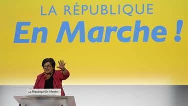 """La présidente par intérim de La République en marche Catherine Barbaroux, le 8 juillet 2017 lors de la première """"convention"""" du parti à Paris."""