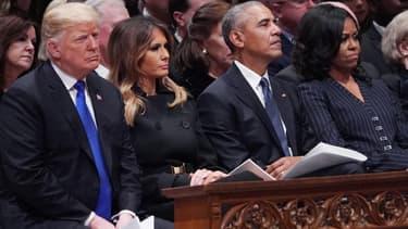 Donald Trump et Barack Obama le 5 décembre 2018