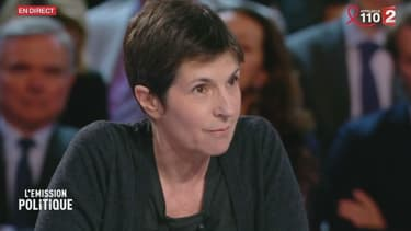 """Christine Angot sur le plateau de """"L'Emission politique"""", le 23 mars 2017"""