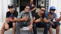 Les rappeurs tunisiens Tuniaif, MC Bilel, Jok boss, T-Gang et BMG posent après l'annonce de la création de leur syndicat, le 10 octobre à Tunis.