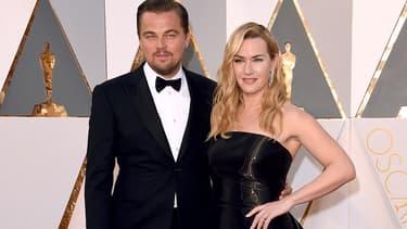 Leonardo DiCaprio et Kate Winslet en février 2016 à Hollywood.