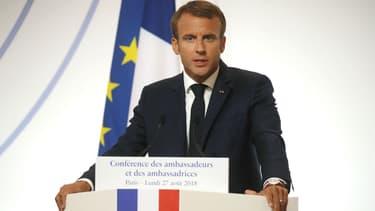 Emmanuel Macron lors de son discours annuel devant les ambassadeurs français, le 27 août 2018 à l'Elysée