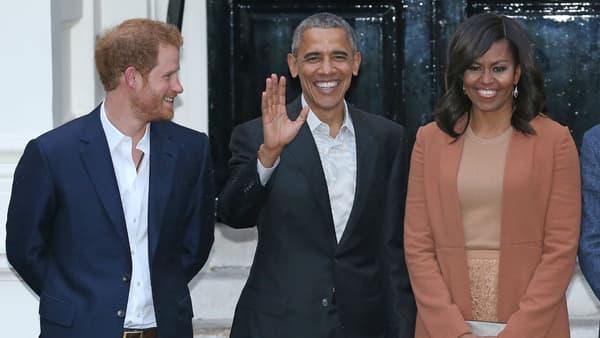Le prince Harry avec Barack et Michelle Obama