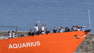 Le navire Aquarius lors de son escale à Marseille pour maintenance le 29 juin 2018