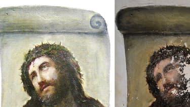 La fresque Ecce Homo, avant et après sa restauration en 2012
