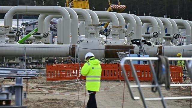 Photo d'archives du 26 mars 2019 montrant un site de construction du gazoduc Nord Stream 2 à Lubmin (nord-est de l'Allemagne)