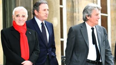 Charles Aznavour, Michel Drucker et Alain Delon en 2007