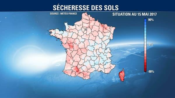 La situation de sécheresse des sols au 15 mai 2017.
