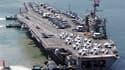 Le porte-avions américain à propulsion nucléaire George Washington, en mer Jaune. La Corée du Nord a placé en mer Jaune des missiles sol-sol sur leurs pas de tir, a rapporté dimanche l'agence sud-coréenne Yonhap, au premier jour de manoeuvres aéronavales