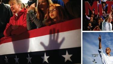 Barack Obama et Mitt Romney ont abordé dimanche le sprint final de la présidentielle américaine pour tenter de convaincre les derniers indécis et mobiliser leurs troupes à 48 heures d'un scrutin dans lequel ils font quasiment jeu égal. /Photos prises le 4
