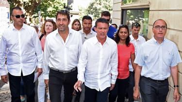 Christophe Castaner (candidat PS aux élections régionales en Paca) et Manuel Valls