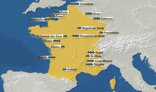 Le parc nucléaire français comporte 19 centrales et 58 réacteurs.