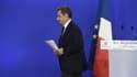 Nicolas Sarkozy dimanche 13 novembre après son discours, à l'issue du second tour des régionales.