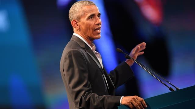 Barack Obama lors d'une conférence à Milan, en Italie, le 9 mai 2017.