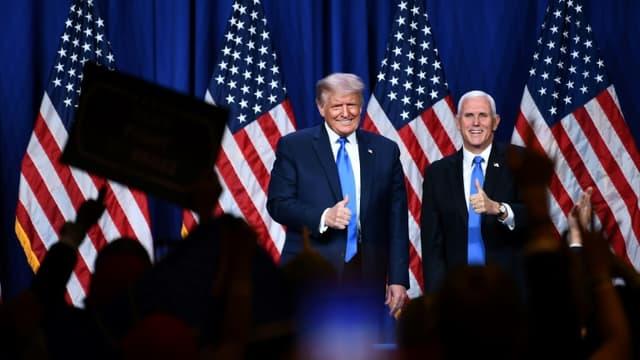 Le président américain Donald Trump et le vice-président Mike Pence, au premier jour de la convention républicaine, le 24 août 2020 à Charlotte, en Caroline du Nord.
