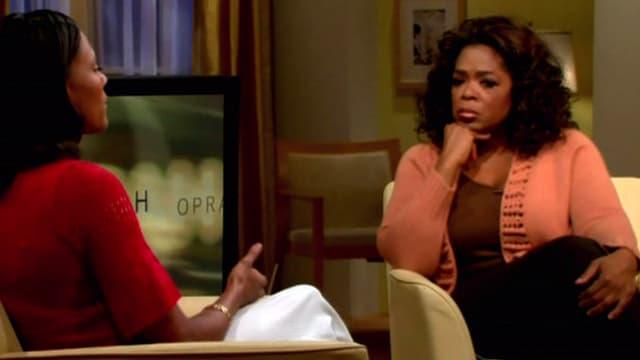 Oprah Winfrey (d) recevait Marion Jones, en 2008