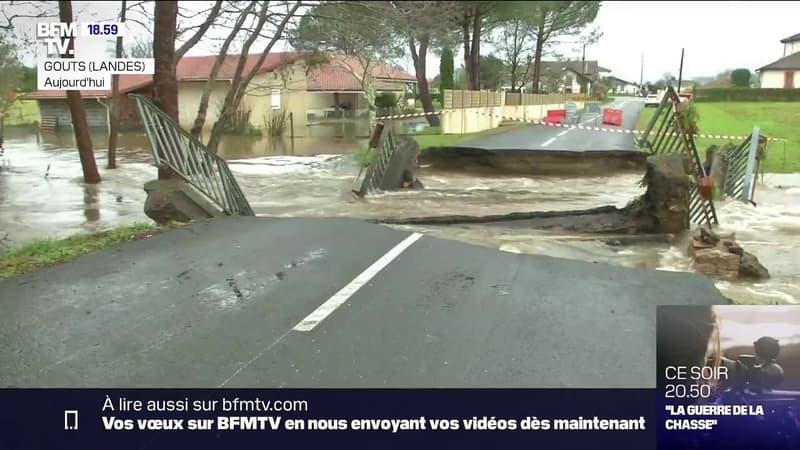 Inondations dans les Landes: une cinquantaine de routes coupées, 1500 foyers privés d'électricité