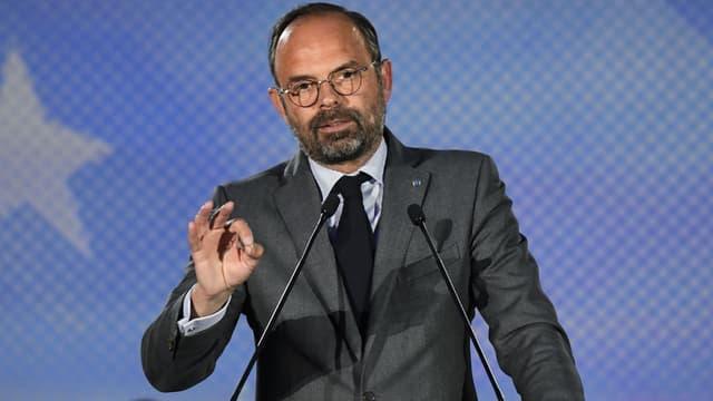 Edouard Philippe lors d'un meeting de LaREM pour les européennes à Caen, le 6 mai 2019
