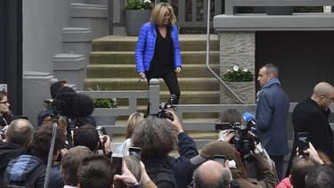 Brigitte Macron le 6 mai 2017 à la sortie de sa maison