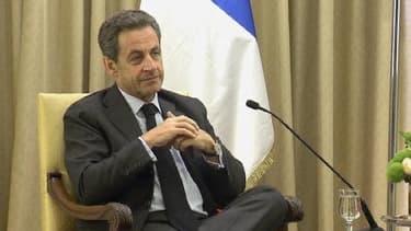 Nicolas Sarkozy reçu par le président israéline Shimon Peres.