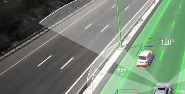 Illustration de la vision d'une voiture autonome utilisant les technologies Mobileye.