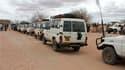 Convoi de véhicules d'organisations humanitaires au camp de réfugiés de Dadaab, à la frontière du Kenya et de la Somalie. Depuis que l'état de famine a été décrété la semaine dernière, les cortèges de 4x4 ont atteint les zones les plus reculées de la Corn
