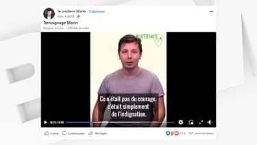 """Marin Sauvajon est revenu pour la première fois sur son agression dans une vidéo publiée sur la page Facebook de son association """"La Tête Haute - Je soutiens Marin""""."""