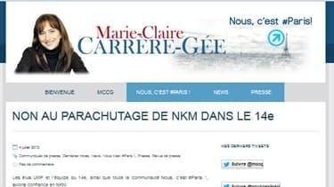 Marie-Claire Carrère-Gée n'accepte pas que Nathalie Koscuisko-Morizet soit candidate dans le 14e arrondissement de Paris