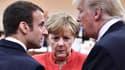 Emmanuel Macron, Angela Merkel et Donald Trump lors du G20 à Hambourg le 7 juillet.