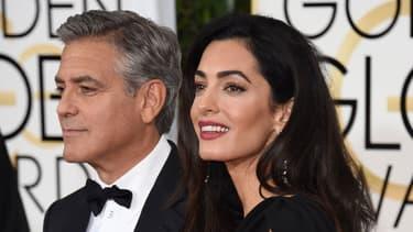 George Clooney et sa femme Amal lors de la cérémonie des golden Globes, le 11 janvier 2015 à Los Angeles.