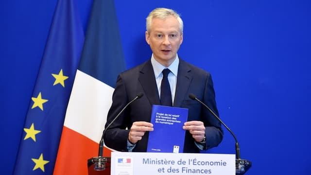 Le ministre de l'Économie Bruno Le Maire, lors de la conférence de presse de présentation de la taxe Gafa mercredi 6 mars.