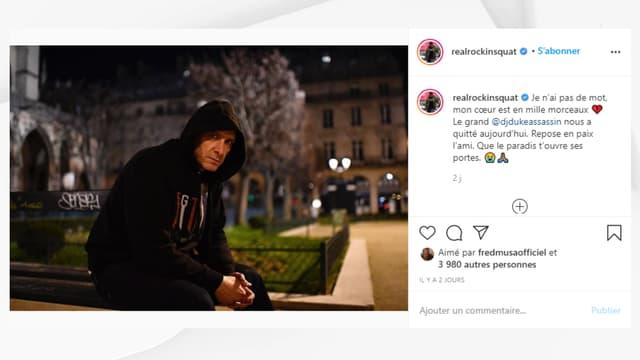 Le message publié par Rockin' Squat sur Instagram, annonçant la disparition de DJ Duke.