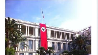 Un drapeau nazi sur la façade du palais de la préfecture des Alpes-Maritimes pour les besoins d'un film à Nice